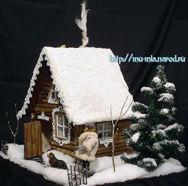 Новогодний домик из картона своими руками фото